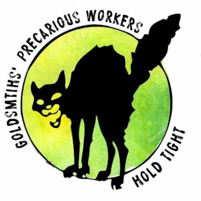 "Image of the ""wildcat"", with text reading ""Goldsmiths Precarious Workers: Hold Tight"""